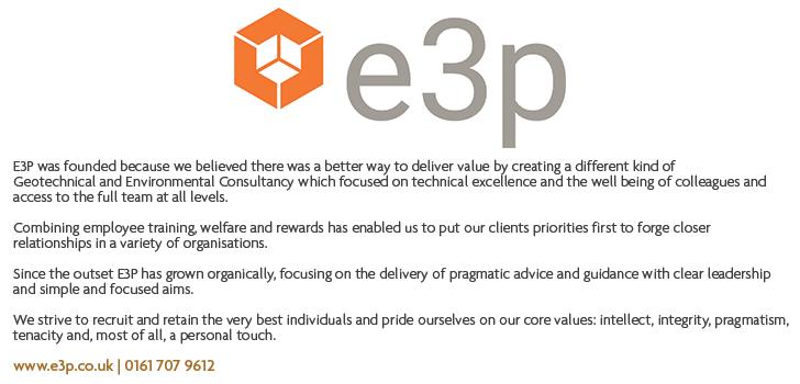 e3p logo and description including contact number 01617079612