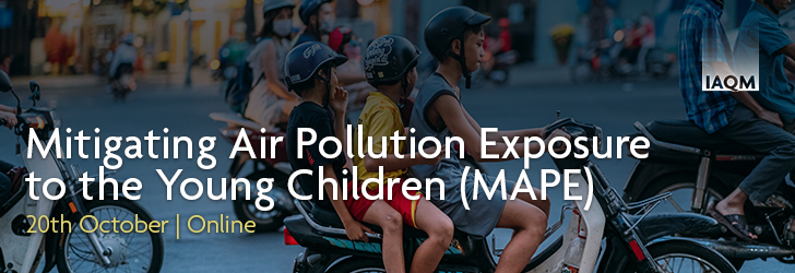 Photo of children on motorbikes with words Mitigating Air Pollution Exposure to the Young Children (MAPE) October 20th Online
